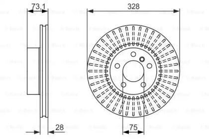 Вентилируемый тормозной диск на БМВ Х4 BOSCH 0 986 479 771.