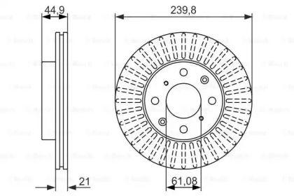 Вентилируемый тормозной диск на Хонда Сивик 'BOSCH 0 986 479 832'.