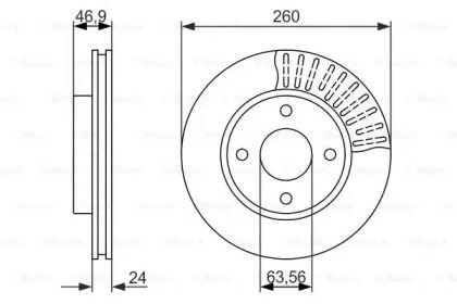 Вентилируемый тормозной диск на FORD COUGAR 'BOSCH 0 986 479 837'.