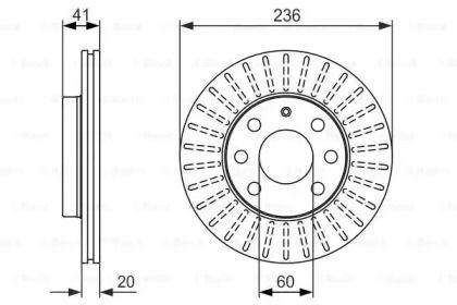 Вентилируемый тормозной диск на DAEWOO SENS 'BOSCH 0 986 479 840'.