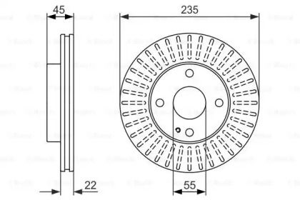 Вентилируемый тормозной диск на Киа Рио 'BOSCH 0 986 479 842'.