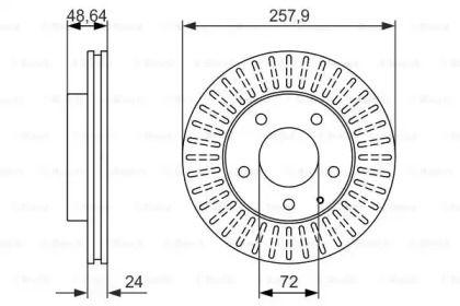 Вентилируемый тормозной диск на FORD PROBE 'BOSCH 0 986 479 844'.