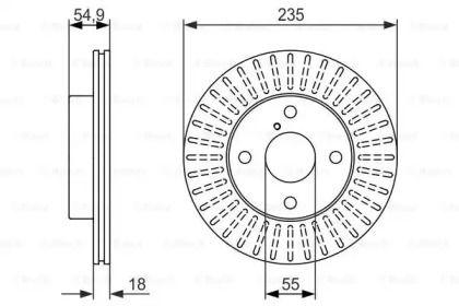 Вентилируемый тормозной диск на Киа Авелла 'BOSCH 0 986 479 845'.