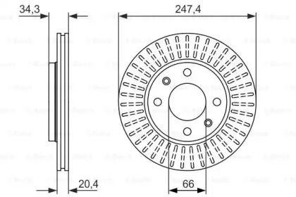 Вентилируемый тормозной диск на CITROEN AX 'BOSCH 0 986 479 861'.