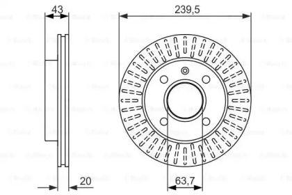 Вентилируемый тормозной диск на FORD KA 'BOSCH 0 986 479 874'.