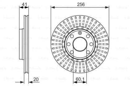 Вентилируемый тормозной диск на Опель Тигра 'BOSCH 0 986 479 876'.