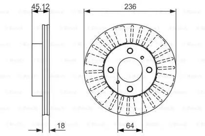 Вентилируемый тормозной диск на Митсубиси Каризма 'BOSCH 0 986 479 883'.