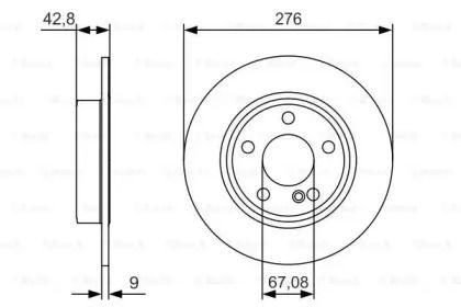 Тормозной диск на MERCEDES-BENZ B-CLASS 'BOSCH 0 986 479 A03'.