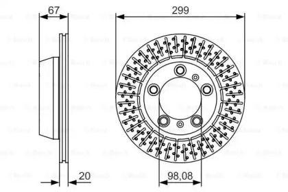 Вентилируемый тормозной диск на Порше 718 BOSCH 0 986 479 A09.