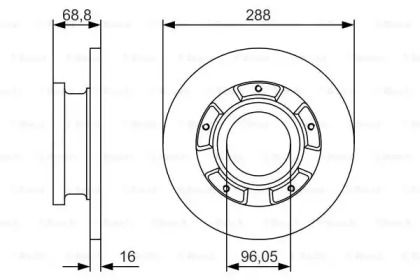 Тормозной диск на FORD TOURNEO CUSTOM 'BOSCH 0 986 479 A50'.