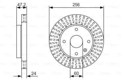 Вентилируемый тормозной диск на CHEVROLET COBALT 'BOSCH 0 986 479 A54'.