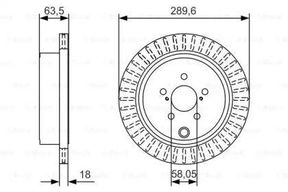 Вентилируемый тормозной диск на Тайота Гт86 'BOSCH 0 986 479 A83'.