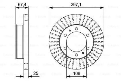 Вентилируемый тормозной диск на TOYOTA FORTUNER 'BOSCH 0 986 479 A96'.