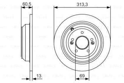 Тормозной диск на HYUNDAI GENESIS 'BOSCH 0 986 479 C27'.