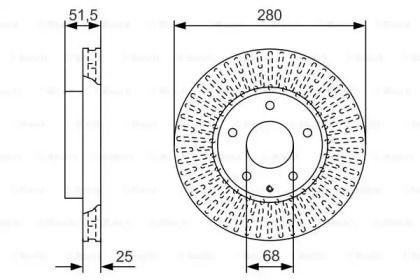 Вентилируемый тормозной диск на MAZDA CX-3 'BOSCH 0 986 479 C36'.