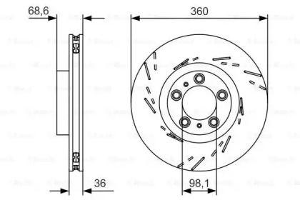 Вентилируемый тормозной диск на Порше Панамера 'BOSCH 0 986 479 D22'.