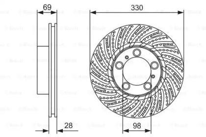 Вентилируемый тормозной диск на PORSCHE 718 'BOSCH 0 986 479 D24'.