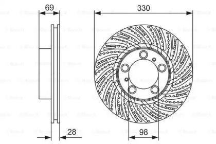 Вентилируемый тормозной диск на Порше 718 'BOSCH 0 986 479 D25'.