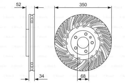 Вентилируемый тормозной диск на Порше Макан 'BOSCH 0 986 479 D26'.