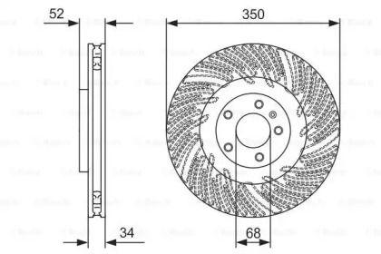 Вентилируемый тормозной диск на PORSCHE MACAN 'BOSCH 0 986 479 D28'.