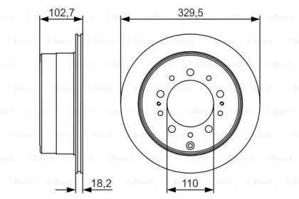 Вентилируемый тормозной диск на LEXUS LX 'BOSCH 0 986 479 R15'.