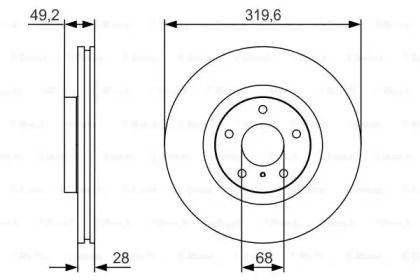 Вентилируемый тормозной диск на NISSAN SKYLINE 'BOSCH 0 986 479 R22'.