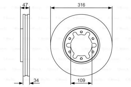 Вентилируемый тормозной диск на NISSAN PATROL 'BOSCH 0 986 479 R38'.