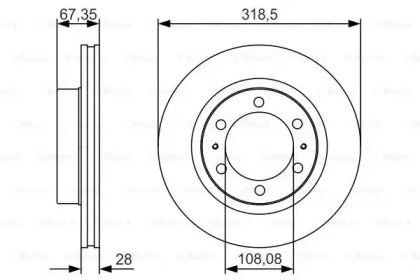 Вентилируемый тормозной диск на Тайота Фортунер 'BOSCH 0 986 479 R46'.