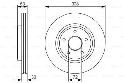 Вентилируемый тормозной диск на JEEP COMMANDER 'BOSCH 0 986 479 R48'.