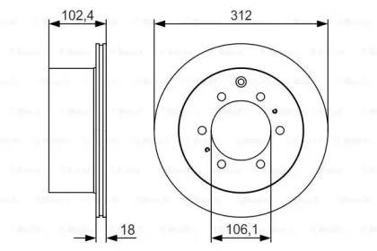 Вентилируемый тормозной диск на Тайота Ленд Крузер Прадо 'BOSCH 0 986 479 R57'.