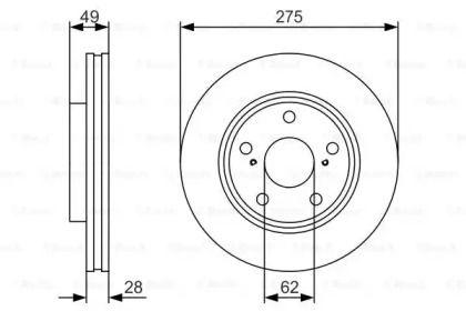Вентилируемый тормозной диск на TOYOTA AVALON 'BOSCH 0 986 479 R58'.