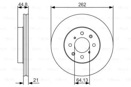 Вентилируемый тормозной диск на Хонда Джаз 'BOSCH 0 986 479 R80'.