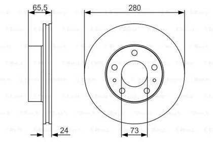 Вентилируемый тормозной диск на CITROEN JUMPER BOSCH 0 986 479 R98.