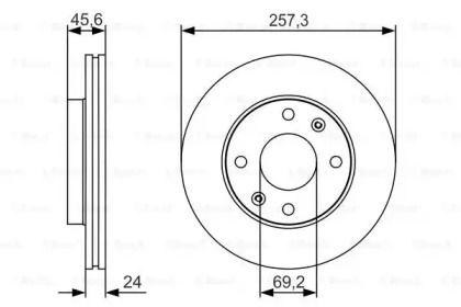 Вентилируемый тормозной диск на HYUNDAI MATRIX 'BOSCH 0 986 479 S03'.