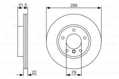 Вентилируемый тормозной диск на БМВ З4 'BOSCH 0 986 479 S10'.