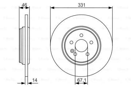 Тормозной диск на MERCEDES-BENZ M-CLASS 'BOSCH 0 986 479 S12'.