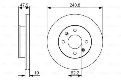 Вентилируемый тормозной диск на HYUNDAI GETZ 'BOSCH 0 986 479 S18'.