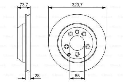 Вентилируемый тормозной диск на Ауди Ку7 'BOSCH 0 986 479 S20'.