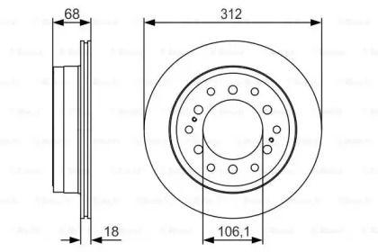 Вентилируемый тормозной диск на LEXUS GX 'BOSCH 0 986 479 S36'.