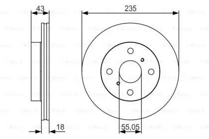 Вентилируемый тормозной диск на Тайота Ярис 'BOSCH 0 986 479 S46'.