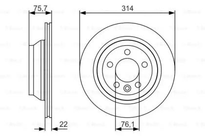 Вентилируемый тормозной диск на Фольксваген Таурег 'BOSCH 0 986 479 S54'.