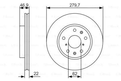 Вентилируемый тормозной диск на FIAT SEDICI 'BOSCH 0 986 479 S58'.