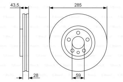 Вентилируемый тормозной диск на Ситроен С8 'BOSCH 0 986 479 S62'.
