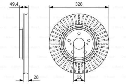 Вентилируемый тормозной диск на Лексус НХ 'BOSCH 0 986 479 T00'.
