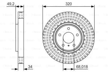Вентилируемый тормозной диск на Инфинити Ку60 'BOSCH 0 986 479 T32'.