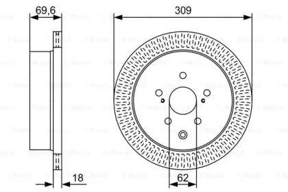 Вентилируемый тормозной диск на Лексус РХ 'BOSCH 0 986 479 T57'.