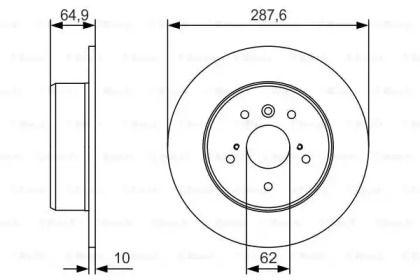 Тормозной диск на LEXUS RX 'BOSCH 0 986 479 T69'.