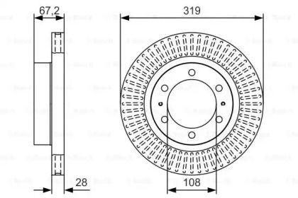 Вентилируемый тормозной диск на TOYOTA FORTUNER 'BOSCH 0 986 479 T80'.
