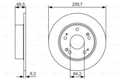 Тормозной диск на HONDA ACCORD BOSCH 0 986 479 T81.