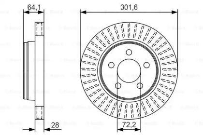 Вентилируемый тормозной диск на DODGE NITRO 'BOSCH 0 986 479 U04'.